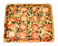 Tasty square pizza with vegetables