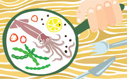 Tasty Squid in a Pan Royalty Free Stock Image