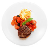 Tasty steak isolated on white Royalty Free Stock Photography