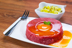 Tasty steak tartare on the plate Royalty Free Stock Photos