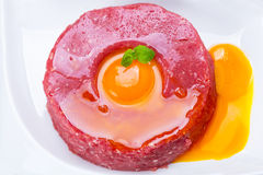 Tasty steak tartare on the plate Royalty Free Stock Image
