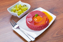 Tasty steak tartare on the plate Stock Photo