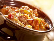 A tasty stew in a pot with tomato and beef Royalty Free Stock Images