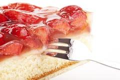 Tasty strawberry cake isolated Royalty Free Stock Photography