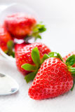 Tasty strawberry. Close up with some nice and tasty strawberries on diffuse light background Stock Photos