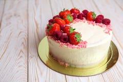 Tasty strawberry cream cake homemade bakery. On white background Stock Image