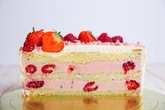 Tasty strawberry cream white chocolate yogurt cake. Homemade bakery  on white background Royalty Free Stock Images