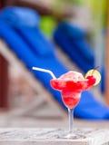 Tasty strawberry margarita background swimming royalty free stock photo