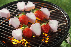 Tasty strawberry and marshmallow kebabs Royalty Free Stock Photo