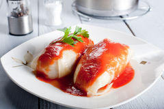 Tasty stuffed cabbage with tomato sauce Royalty Free Stock Photography