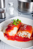 Tasty stuffed cabbage with tomato sauce Stock Photography