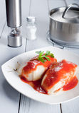 Tasty stuffed cabbage with tomato sauce Stock Image