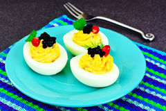 Tasty Stuffed Eggs with Pomegranate Royalty Free Stock Image