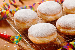 Tasty Sugared Round Donuts on Table Royalty Free Stock Images