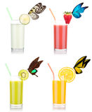 Tasty summer fruit drinks in glass with butterfly Stock Photo