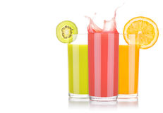 Tasty summer fruit drinks in glass with splash Stock Image
