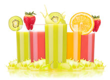 Tasty summer fruit drinks in glass with splash Royalty Free Stock Photos