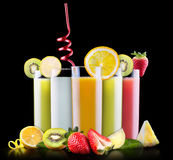 Tasty summer fruits with juice in glass Royalty Free Stock Photography