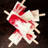 Tasty summer ice lolly with fresh strawberries Stock Photography