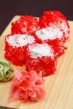 Tasty sushi. On wood board Royalty Free Stock Image