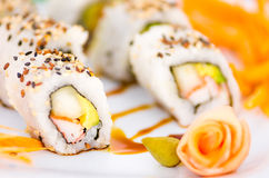 Tasty sushi rolls on a plate Stock Image