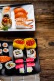 Tasty sushi set, Japanese food Royalty Free Stock Photos