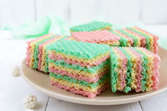 Tasty sweet colorful air waffle cake Stock Image