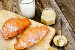 Tasty Sweet Croissant with Milk Royalty Free Stock Images