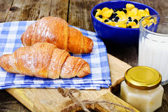 Tasty Sweet Croissant with Milk Royalty Free Stock Photography