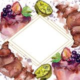 Tasty sweet desserts in a watercolor style food. Watercolour backgriund illustration set. Frame border ornament square. Tasty sweet desserts in a watercolor royalty free illustration