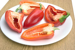 Tasty sweet peppers on white plate closeup. Tasty sweet peppers in white plate closeup on brown wood desk Royalty Free Stock Images