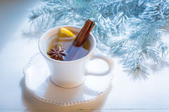Tasty and sweet tea with cinnamon for Christmas Royalty Free Stock Photography