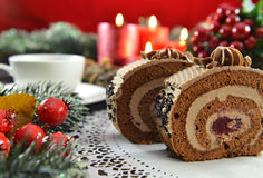 Tasty sweets on Christmas table with decorations Royalty Free Stock Photos