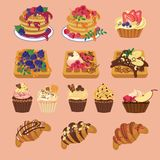 Tasty sweets from waffles to muffin and pancake stock illustration