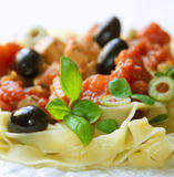 Tasty tagliatelle with olives Royalty Free Stock Photo