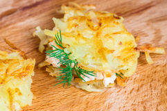 Tasty tapas from grated potatoes Royalty Free Stock Photography