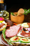Tasty tapas on the table Royalty Free Stock Images