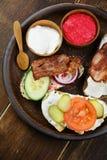 Tasty tapas on the table royalty free stock photos