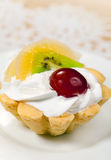 Tasty tart  with cream and fruits Royalty Free Stock Photos