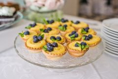 Tasty tartlets with whipped cream and blueberries on table in the restaurant. royalty free stock images