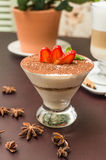 Tasty tiramisu dessert in glass Royalty Free Stock Photo