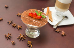 Tasty tiramisu dessert in glass Stock Photos