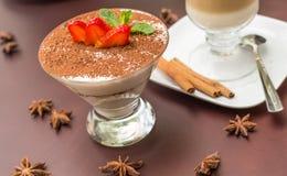 Tasty tiramisu dessert in glass Stock Image