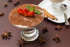 Tasty tiramisu dessert in glass Royalty Free Stock Images