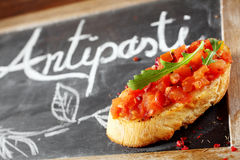 Tasty tomato bruschetta Stock Photo