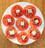 Tasty tomato slices with cheese Royalty Free Stock Photos
