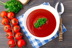 Tasty tomato soup with herbs Royalty Free Stock Photography