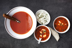 Tasty Tomato soup with pita Stock Images