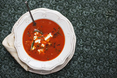 Tasty Tomato soup with pita Royalty Free Stock Photos