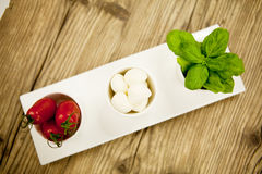 Tasty tomatoes mazarella and basil on plate on table Stock Images